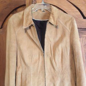 Ladies tan leather double zip jacket